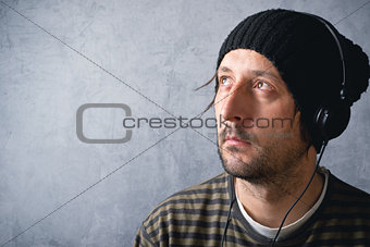 Man with headphones listening to music