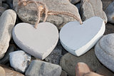 two love hearts on a rocky beach