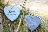 two love hearts on grassy dunes