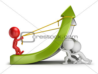 3d small people - teamwork and profit