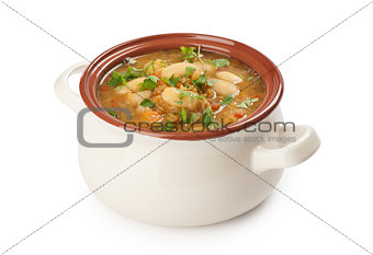 bean soup on white background with clipping path