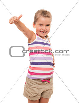 Beautiful little girl standing on white and showing OK sign