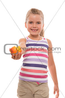 little girl offers a nectarine