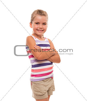 little girl standing on white background