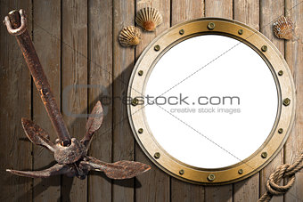 Anchor and Porthole on Wooden Wall