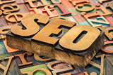 SEO acronym in wood type