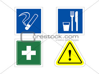 4 information signs: smoking, eating, medical, warning