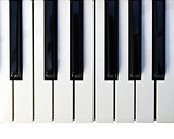 Closeup detail of a piano keyboard.