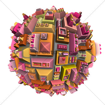 3d futuristic city ball in multiple color on white