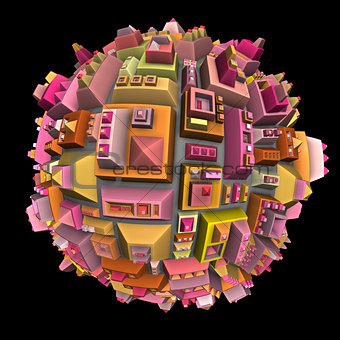 3d futuristic city ball in multiple color on black