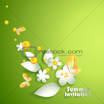 Abstract paper spring flowers