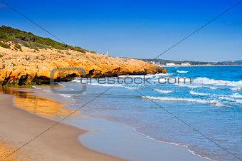 Cala Romana beach in Tarragona, Spain
