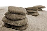balanced stones in a zen garden