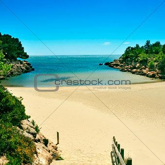 Cala Calafato beach in Ametlla de Mar, Spain