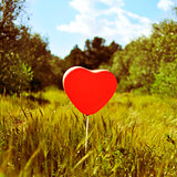 heart-shaped balloon in a country landscape, with a retro effect
