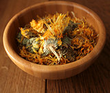 Dried herbal calendula flowers