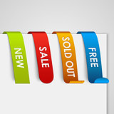 Set of colored paper web tags