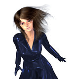 3d Girl in Dark Blue Coat
