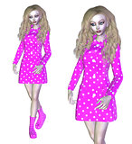 3D Woman in Pink Coat