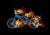 BMX bike in the colored smoke