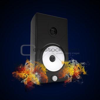 Audio speaker in the colored smoke