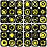Stars and suns abstract icons. Design elements set.