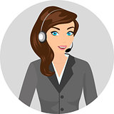 Female call centre operator with headset and smiling