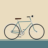 Vintage blue bike on modern style background style isolated