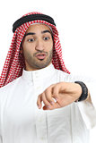 Arab saudi emirates man looking his watch too late