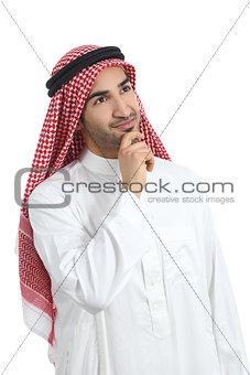 Arab saudi emirates man thinking and looking sideways
