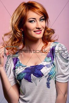 Beautiful redhead lady smiling