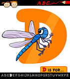 letter d with dragonfly cartoon illustration