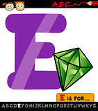 letter e with emerald cartoon illustration