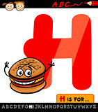 letter h hamburger hat cartoon illustration