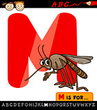 letter m with mosquito cartoon illustration