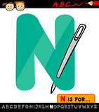 letter n with needle cartoon illustration
