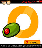 letter o with olive cartoon illustration