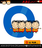 letter q with quadruplets illustration