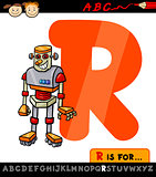 letter r with robot cartoon illustration