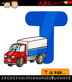 letter t with truck cartoon illustration