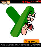 letter y with yawn cartoon illustration