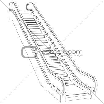 Sketch escalator. Wire frame render