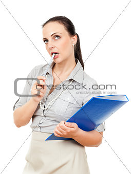 business woman with a blue folder