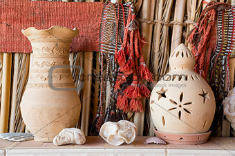 Clay pot and lantern