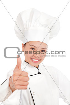 asian female chef, cook or baker  showing thumbs up