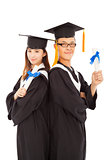 happy graduating students isolated on white