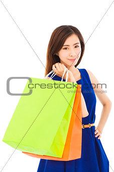 beautiful young  asian woman with shopping bags