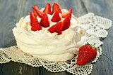 Desssert Pavlova with strawberries.