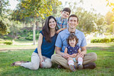Attractive Young Mixed Race Family Outdoor Park Portrait