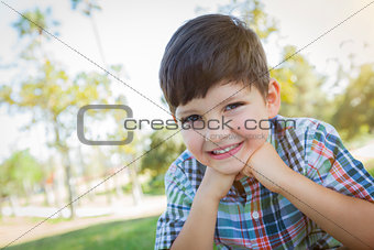 Cute Young Boy Outdoors Portrait